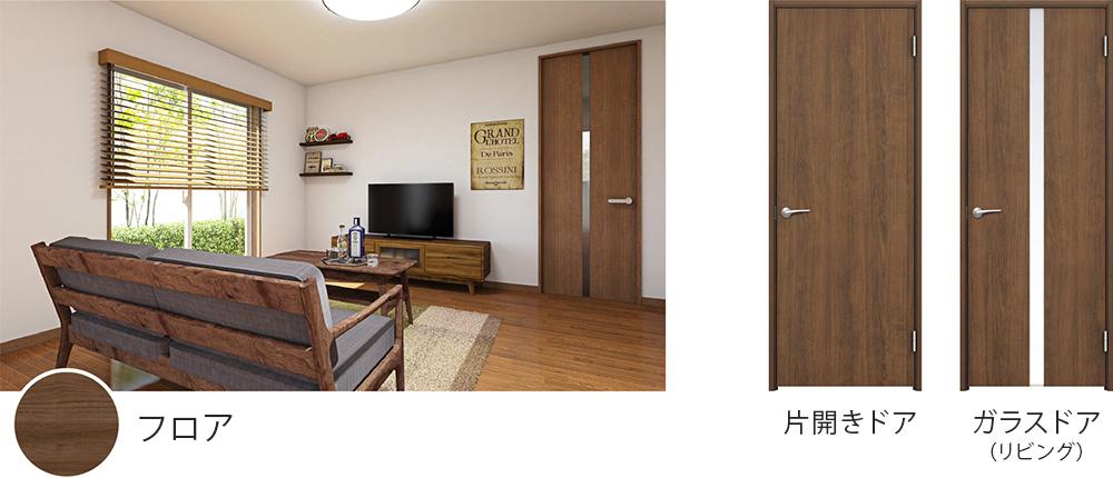 フロア、片開きドア、ガラスドア